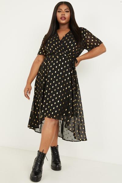 Curve Black Polka Dot Wrap Dress